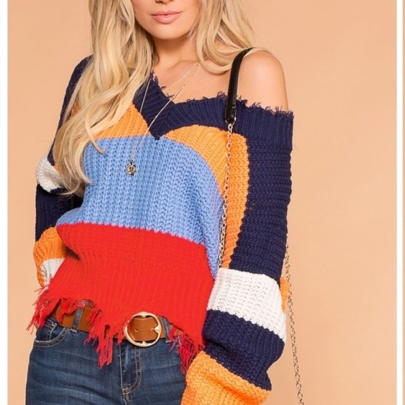 🖤 Main Strip Frayed Chunky Knit Cropped Sweater